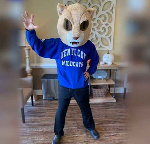 Dr. Worful celebrating nationalcatday by wearing his UK Wildcats Mask